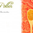 Stock Photo: Bee pollen in wooden spoon copy space