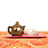 Rustic teapot and cup isolated — Foto de Stock