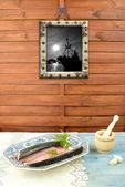 Ingrediente e cavala fresca — Fotografia Stock