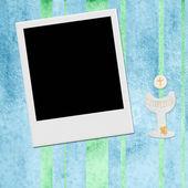 Communie foto instant frame uitnodiging kaart jongen — Stockfoto