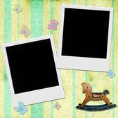 Two Instant photo frame in chid background  — Stock Photo