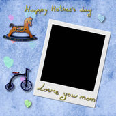 Instant Photo Frame in blue background,Happy Mother's Day — Stock Photo