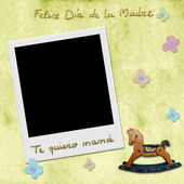 Happy mothers day love you mom in spanish photo frame — Stock Photo