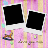 Love you mom,  two Instant Photo Frames in pink — Stock Photo