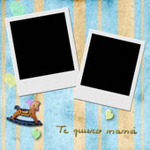 Sentence te quiero mama, love you mom in spanish, two Instant Ph — Stock Photo