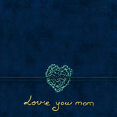 Mother's Day, Dark blue background with heart — Stock Photo