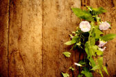 Old wood and flower vine background — Stock Photo