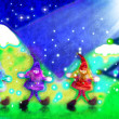 Christmas card, three santa's elves in the forest — Stock Photo #7581734