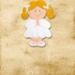 Vertical card first communion, funny blond gir — Stock Photo #8719093