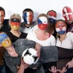 Football soccer fans friends — Stock Photo #10963447