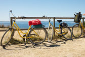 Yellow bike and picnic basket — Stock Photo