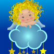 Stock Vector: Little angel on a cloud