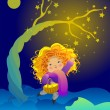 Royalty-Free Stock Imagen vectorial: The little girl and the magic tree