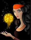 Fortune-teller with a magic ball — Stock Vector