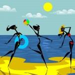 Three crazy abstract girl on the beach — Stock Vector #18975083