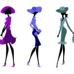 Three women in hats — Stock Vector