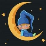 Boy on the moon — Stock Vector #35800727