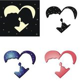 The silhouettes of two lovers — Stock Vector