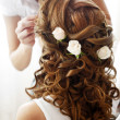 Hairdress of the bride - Stock Photo
