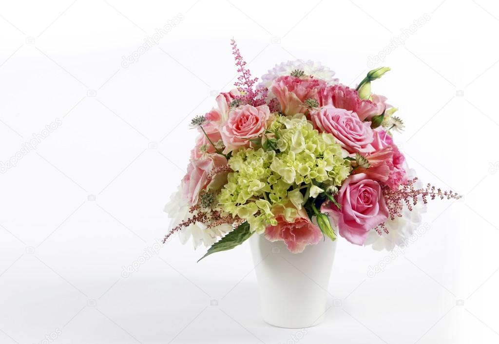 Bouquet alstroemeria, peony and rose on white isolated background — Stock Photo #13434175