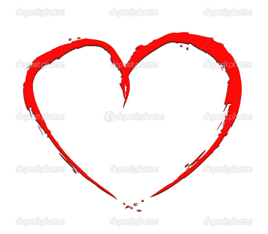 Red heart with fragmentary edges on white background — Stock Photo #19006615