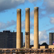 Brick smokestacks - Stock Photo