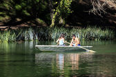 Couple in boat — Stock Photo