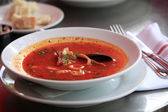 Fish soup with tomatoes and mussels — Stock Photo