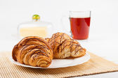Croissants And Tea — Stock Photo