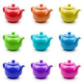 Ensemble de théières colorées — Photo