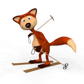 Red Foxes Skier. — Stock Photo