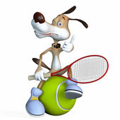Illustration on a subject a dog the tennis player. — Stock Photo