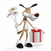 Illustration a dog with flowers and a gift. — Stock Photo