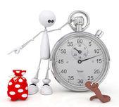 L'omino 3d con un cronometro. — Foto Stock
