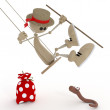 The 3D little man on a swing. — Stock Photo
