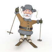 The grandfather on skis. — Stock Photo