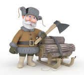 The grandfather with a sledge. — Stock Photo