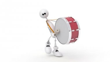 The 3D person with a drum. — Stock Video