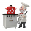 The 3D cook with a pan. — Stock Photo #43625311