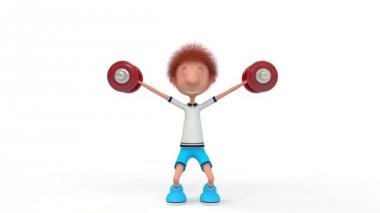 The 3D little boy with dumbbells. — Stock Video