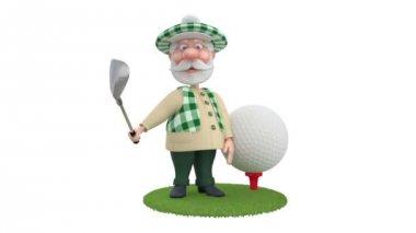 3d küçük adam golfist. — Stok video