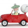 3d little man golfist by car. — Stock Photo