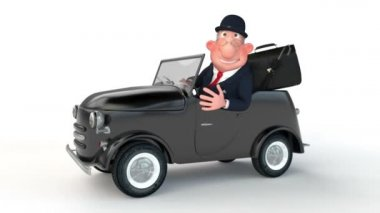 The 3D businessman costs near car. — Stok video
