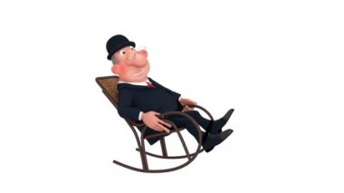 The 3D businessman has a rest in a chair. — Stock Video