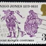 UNITED KINGDOM - CIRCA 1973: A stamp printed in Great Britain dedicated to 400th Anniversary of the Birth of Inigo Jones, shows court masque costumes, circa 1973 — Stock Photo #12129917