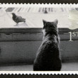 UNITED KINGDOM - CIRCA 2001: A stamp printed in Great Britain shows Cat watching Bird, circa 2001 — Stock Photo #12365964