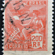 Foto Stock: BRAZIL - CIRC1920: stamp printed in Brazil shows Aviation mythology and Mythical Creatures aircraft, circ1920
