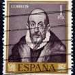 A stamp printed in Spain  shows a self portrait of El Greco — Stock Photo