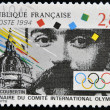 Stamp printed in France shows Pierre de Coubertin — 图库照片 #12429192