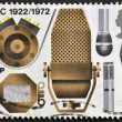 A stamp printed in Great Britain shows the different microphones, a series devoted to the 50 th anniversary BBC — Stock Photo
